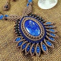 Macrame Necklace Pendant Cabochon Lapis Lazuli Quartz Cotton Waxed Cord Handmade #Handmade #Wrap