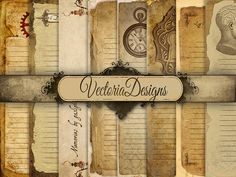 Steampunk Diary Pages Digital Paper 8.5 x 11 inch paper pack digital paper printable digital collage sheet VD0462