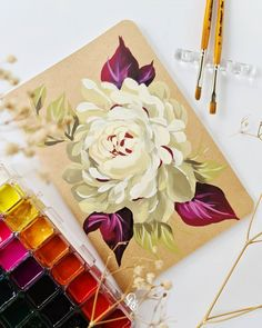 Canvas Paintings, Brush Strokes, Gouache, Furniture Makeover, Flower Art, Florals, Journaling, Miniatures, Calligraphy