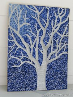 Glass tile mosaic – this is a tree that I imagine would be in a fairy tale manhattan cashmere glass tileGone are the days when decorating wa. Tile Art, Mosaic Art, Mosaic Glass, Mosaic Tiles, Glass Art, Stained Glass, Blue Mosaic, Mirror Mosaic, Mosaic Crafts