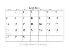 June 2015 Calendar Calendar