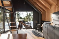 Location: Notre-Dame-du-Laus, Québec, Canada - La Pointe is a ready-to-camp micro-shelter designed for the Poisson Blanc Regional Park located north of Ottawa. Ottawa, Montreal Architecture, La Pointe, Cabinet D Architecture, Shelter Design, Off Grid Cabin, Appartement Design, A Frame Cabin, Refuge