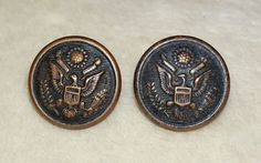 2 Vintage Antique WWI Military Uniform Buttons City Button Works NY