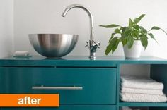 Before & After: IKEA Rast + Salad Bowl to Sleek Bathroom Vanity — IKEA Hackers | Apartment Therapy