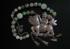 08-04-10 Chinese Silver Qilin and Bead Necklace