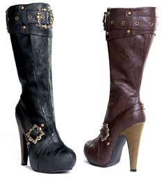 9e817c43aa5072 Our female pirate boots include a pair of heel knee high boots in black or  brown pleather with buckles and studs accents. Be sure to check the size  chart if ...