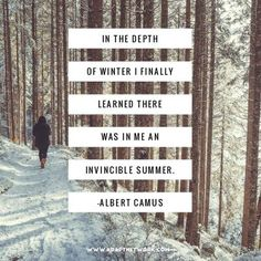 """""""In the depth of winter I finally learned there was in me an invincible summer."""""""