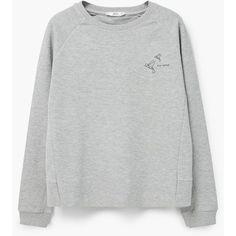 Message Cotton Sweatshirt (38 BRL) ❤ liked on Polyvore featuring tops, hoodies, sweatshirts, sweaters, jumpers, mixed print top, long sleeve sweatshirts, round top, cotton sweatshirts and long sleeve cotton tops