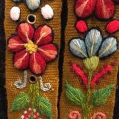 Cinturón Marrón peruano bordado en lana de Huancayo - Perú