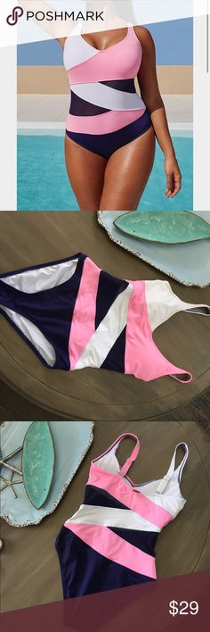 Anne Cole Asymmetrical Mesh Pink Navy Swimsuit 10 This swimsuit is so fun & flattering, the diagonal color blocks accentuate curves and the navy mesh cutouts are well placed! It's navy, pink and white. It's very gently used with one small snag on back pointed out in picture & minor wash wear. Wore on vacation last fall and just doesn't fit anymore, sad to let this go, but it needs to be worn! Anne Cole Swim One Pieces