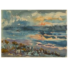 "1stdibs | Nell Blaine ""Hudson River"" Watercolor on Paper"