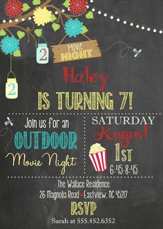 Chalkboard Movie Invitation Outdoor Movie by themilkandcreamco