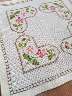 Beautiful little embroidered floral tablecloth 6 x 6 in linen from Sweden - ponto cruz Cross Stitch Heart, Cross Stitch Borders, Cross Stitch Designs, Cross Stitch Patterns, Cross Stitch Embroidery, Embroidery Patterns, Hand Embroidery, Floral Tablecloth, Etsy