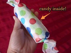 party favors. Works well with cardboard tissue rolls or wrapping paper rolls. Great way to recycle and save money on party bags at the same time. Why not let the kids help make them ?