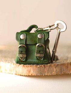 Tiny bag leather keychain keyring keyfob keyholder by secondstudio