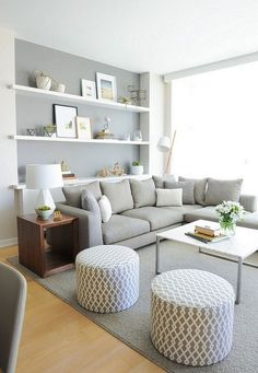 Living in an apartment, or in an older home with tiny rooms, can present a challenge: how to make your limited space seem larger. Try these 80 Stunning Modern Apartment Living Room Decor Ideas And Remodel. Small Apartment Decorating, Small Living Rooms, Room Inspiration, Home And Living, Home Living Room, Apartment Living Room, Living Decor, House Interior, Apartment Decor