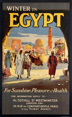 Original Vintage Posters -> Travel Posters -> Winter In Egypt Sunshine Pleasure Health - AntikBar