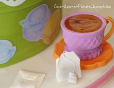 "Edible ice cream cone tea cup, chocolate saucer, wafer paper tea bag with sugar crystal ""tea"" with tutorial"