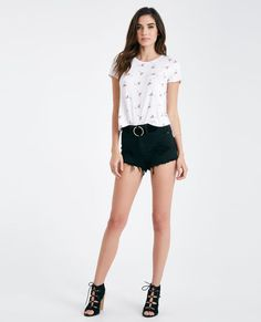 Flamingo Print Tee With Side Slits Flamingo Print Tee With Side Slits