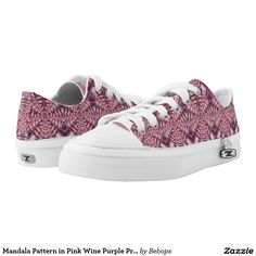 Mandala Pattern in Pink Wine Purple Printed Shoes