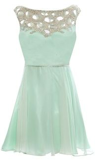 Blue/green dress with crystal at the top