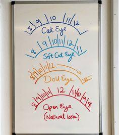 lash tech Todays lesson on the board, lash mapping! Here are four basic lash maps to style your clients eyes with Eyelash Studio, Eyelash Salon, Eyelash Curler, Eyelash Extensions Salons, Elf Make Up, Eyelash Technician, Lash Quotes, Lashes Logo, Lash Room