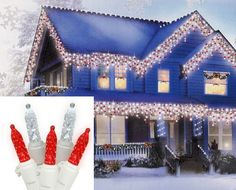 $19.99-$24.99 Set of 70 LED M5 Icicle Christmas Lights  Item #274A4N12 Features:  Color: red and pure white bulbs / white wire  Number of bulbs on string: 70 Bulb size: M5 (mini)  Approximate drop lengths alternate between: 9 inches, 12 inches, 5 inches and 16 inches long   Spacing between each bulb: 4 inches Spacing between each drop: 7 inches Approximate lighted length: 9.5 feet long Approxima ...
