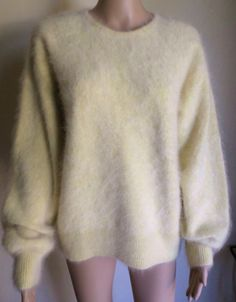 Venesha High Quality Angora Pale Yellow Sweater L #Venesha #Crewneck