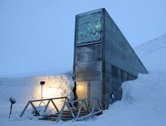 """crookedindifference: Svalbard Global Seed Vault A secure seedbank located on the Norwegian island of Spitsbergen near the town of Longyearbyen in the remote Arctic Svalbard archipelago, about 1,300 kilometres (810mi) from the North Pole. The facility preserves a wide variety of plant seeds in an underground cavern. The seeds are duplicate samples, or """"spare"""" copies, of seeds held in gene banks worldwide. The seed vault is an attempt to provide insurance against the loss of seeds in geneban"""