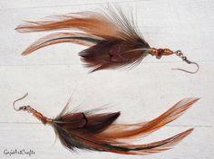 Long orange-brown feather earrings, Boho feather earrings, Natural feather earring, Boho and Hippie earrings,  Bohemian style earrings by GajaArtCrafts on Etsy