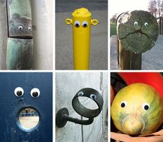 Eyebombing is the act of setting wiggle/googly eyes on inanimate things in the public space. Ultimately the goal is to humanize the streets, – one eye at a time!  This is awesome I want to do this!