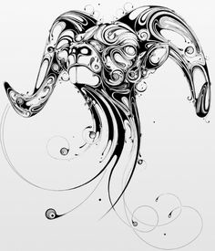 Aries Tattoo | I'm definitely not an aries, but i love the concept of this drawing