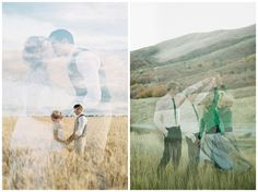 Mariés et paysages en double exposition. Photos : Feather & Stone, Chantel Marie