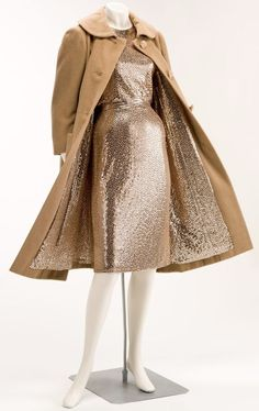 Norman Norell, circa 1956, sequin dress wiggle sheath with matching coat.
