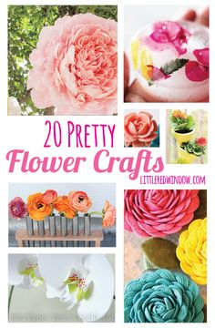 20 Pretty Flower Crafts  | littleredwindow.com |  Get inspired by some beautiful flower craft projects!  #crafts #diy #flowers