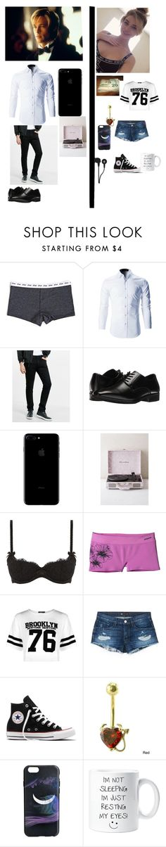 """""""ottd Harrison and Alex"""" by angelsdevildes ❤ liked on Polyvore featuring Express, Stacy Adams, L'Agent By Agent Provocateur, Patagonia, Boohoo, 3x1, Converse, Marc by Marc Jacobs and Skullcandy"""
