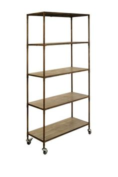 """Cadmus"" Iron & Wood Bookshelf with Casters (For rolling pantry shelves?)"