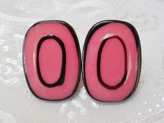 80s Vintage Earrings Hot Pink &  Black for by KKCollectibleCollage, $3.00 https://www.etsy.com/listing/158870093/80s-vintage-earrings-hot-pink-black-for