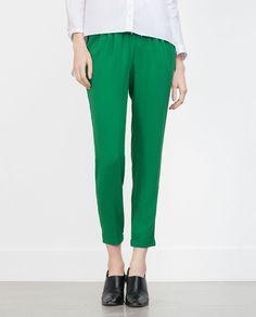 b2154345ed7c4 Pantalon fluide vert . Zara Pantalon Avec Cordon, Pantalon Fluide, Vert