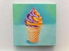 Ice Cream Cone Drawing, Ice Cream Painting, Ice Cream Art, Food Art Painting, Oil Painting On Canvas, Canvas Paintings, Mini Canvas Art, Canvas Canvas, Handprint Painting