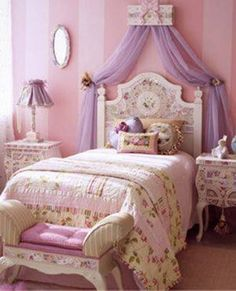 Bedroom , Furniture For Girls Princess Bedrooms : Princess Bedrooms With Floral Bedding And Purple Canopy Fabric