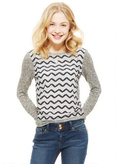 Print Chiffon Sweaterknit Long-Sleeve - View All Tops - Tops - dELiA*s