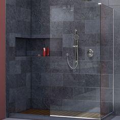 "DreamLine SHDR-3230303-01 Linea Frameless Shower Door. Two Attached Glass Panels: 30"" x 72"" Chrome"
