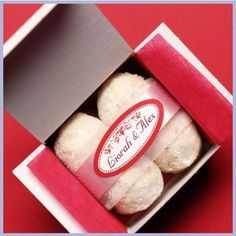 Mexican wedding cookies presented in a mini box