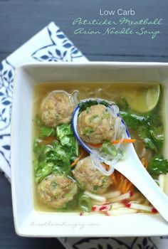 Potsticker Meatball Asian Noodle Soup – Low Carb & Gluten Free Potsticker Meatball Asian Noodle Soup A delicious and comforting Asian inspired meatball and noodle soup recipe that is low carb, gluten free, keto, lchf, Paleo and Atkins diet friendly! Low Carb Soup Recipes, Healthy Recipes, Pork Recipes, Asian Recipes, Cooking Recipes, Meatball Recipes, Keto Recipes, Chicken Meatball Soup, Low Carb