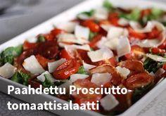 Paahdettu Prosciutto-tomaattisalaatti #kauppahalli24 #resepti #proscuitto #tomaatti #salaatto #ruokaa Prosciutto, Caprese Salad, Food, Eten, Meals, Diet