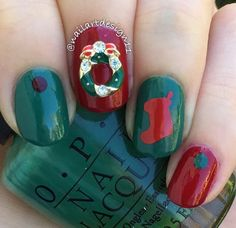Our Red Christmas Stocking Nail Decals are an easy way to create holiday nails. For the nail artist, use as a Christmas Stocking Nail Stencil and get creative! 30 Christmas Stocking Nail Decals in all