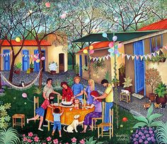 Happy Birthday by Veronica Labat - GINA Gallery of International Naive Art Art And Illustration, Watercolor Illustration, Magic Design, Tropical Art, Naive Art, Colorful Drawings, Whimsical Art, Pictures To Draw, Art World