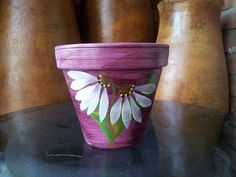 Hand Painted Clay Pot - Sealed with 4 coats gloss polyurethane