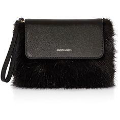 Karen Millen Faux-Fur Clutch (46 CAD) ❤ liked on Polyvore featuring bags, handbags, clutches, fur, black, man bag, hand bags, karen millen handbags, faux fur purse and handbag purse